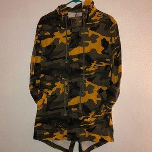Camo hooded trench coat